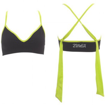 Zumba® - Marvelous Seamless Bra Top - Negro / Lime Punch [Large/Extra Large]