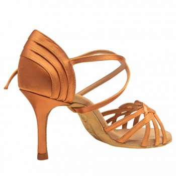 Rummos Damen Latein Tanzschuhe Elite Gaia 048 - Dark Tan Satin - 8 cm