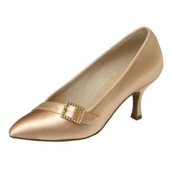 "Supadance - Ladies Dance Shoes 1023 - Flesh Satin - Regular - 2.5"" Flare [UK 6,5]"