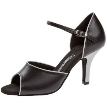 Diamant - Mujeres Zapatos de Baile 153-058-027 - Cuero Negro/Blanco - 7,5 cm Slim [UK 3]