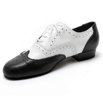 Dancelife - Herren Tanzschuhe 55292 - Leder Schwarz/Weiß - 2,5 cm Standard [UK 12,5]