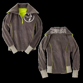 Zumba® - Zweety Velour Track Jacket - Gunmetal [Extra Small] Final Sale - No returns