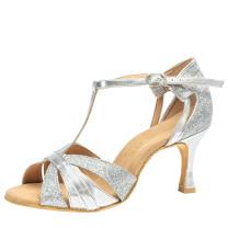 Rummos Damen Latein Tanzschuhe Elite Martina 009/139 - Leder/Glitter Silber - 6 cm