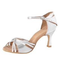 Rummos Mujeres Latino Zapatos de Baile Elite Bella 009 - Cuero Plateado
