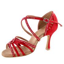 Rummos Damen Tanzschuhe Elite Luna 049S - Satin Rot mit Strass - 7 cm