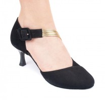 PortDance - Ladies Dance Shoes PD126 - Nubuck Black - 5,5 cm Flare (big)
