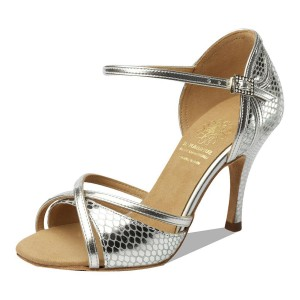 Supadance - Ladies Dance Shoes 1073 - Leather Silver Embossed