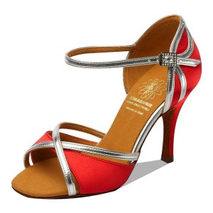 "Supadance - Damen Tanzschuhe 1073 - Satin Rot - Regular - 2,5"" Flare [UK 6]"