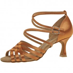 Diamant - Dames Dansschoenen 108-087-379 - Dark Tan Satijn