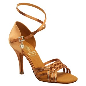Supadance - Damen Tanzschuhe 1178 - Dark Tan Satin / Gold