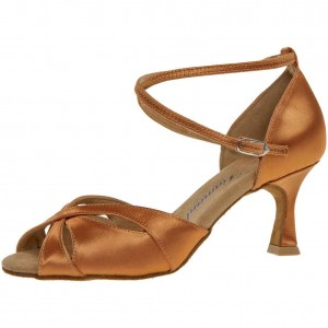 Diamant - Damen Tanzschuhe 141-087-379 - Dark Tan Satin - 6,5 cm Flare [UK 5,5]