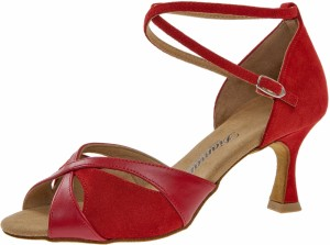 Diamant - Ladies Dance Shoes 141-087-389 - Suede/Leather Red - 6,5 cm Flare [UK 6]
