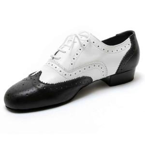 Dancelife - Homens Sapatos de Dança 55292 - Cuoro Preto/Branco