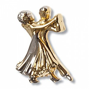 Diamant - Brosche Tanzpaar [Gold | 2 cm x 1,5 cm]