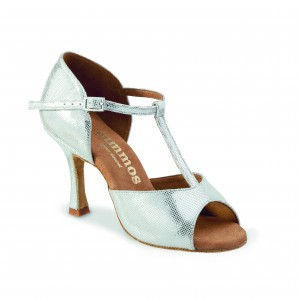 Rummos Ladies Dance Shoes R325 - Leather Silver - 7 cm
