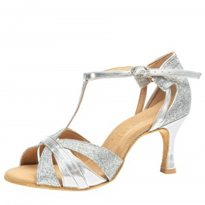 Rummos Ladies Latin Dance Shoes Elite Martina 009/139 - Leder/Glitter Silber - 6 cm