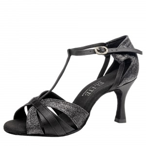 Rummos Ladies Latin Dance Shoes Elite Martina 041/131 - Black Satin - 6 cm