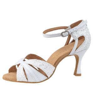Rummos Ladies Latin Dance Shoes Elite Aura 004/GS4 - Leder/Glitter Weiß - 6 cm
