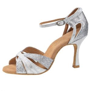 Rummos Damen Latein Tanzschuhe Elite Aura 139/169 - Leder/Glitter Silber - 7 cm