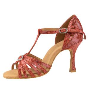 Rummos Ladies Latin Dance Shoes Elite Karina 205 - Leder Histrix Rot - 7 cm