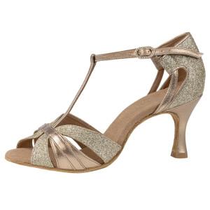 Rummos Ladies Latin Dance Shoes Elite Martina 147-137 - Leder/Glitzer Platin - 6 cm