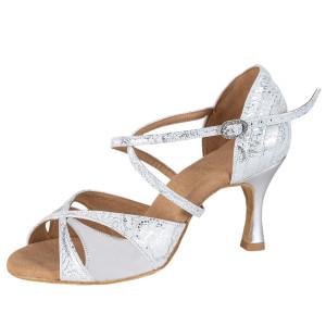 Rummos Damen Tanzschuhe Elite Paloma 084/009 - Leder Weiß/Silber - 6 cm