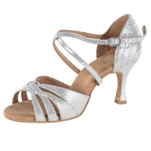 Rummos Damen Latein Tanzschuhe Elite Paris 069 - Silber Leder - 6 cm