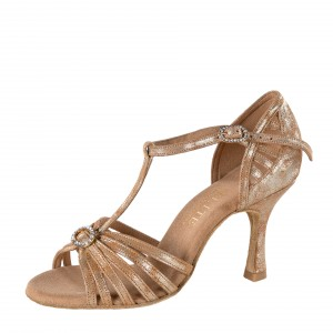 Rummos Mujeres Latino Zapatos de Baile Elite Karina 168 - Leder Tan Cuarzo - 7 cm Flare