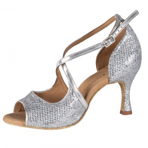 Rummos Damen Tanzschuhe R545 GT9-009 - Leder/GlitterLux Silber - 6 cm