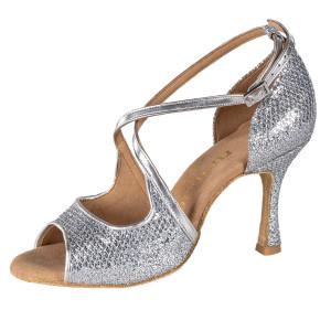Rummos Damen Tanzschuhe R545 GT9-009 - Leder/GlitterLux Silber - 7 cm
