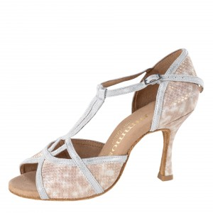 Rummos Ladies Dance Shoes Santigold - Leather Snake Beige/Silver Cuarzo - 7 cm Flare