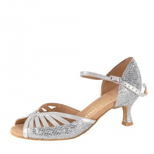 Rummos Ladies Dance Shoes Stella - Leather/GlitzerLux Silver - 5 cm (50R)