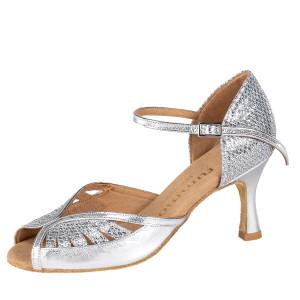 Rummos Damen Tanzschuhe Stella 009-GT9 - Leder/GlitterLux Silber - 6 cm