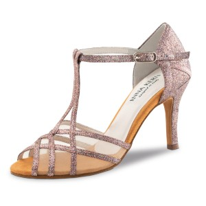 Anna Kern - Ladies Dance Shoes 870-75 - Brocade Pink