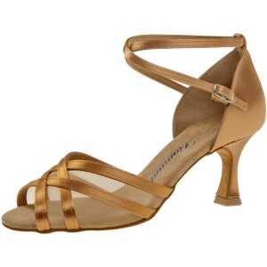 Diamant - Damen Tanzschuhe 035-087-087 - Satin/Mesh Bronze - 6,5 cm Flare [UK 3,5]