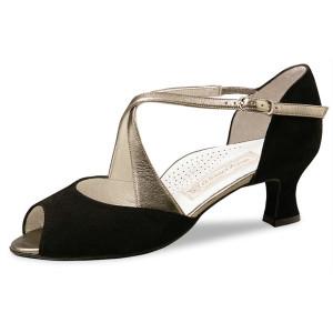 Werner Kern - Mujeres Zapatos de Baile Gaby - Ante Negro/Cuero Oro - 5 cm [UK 4]