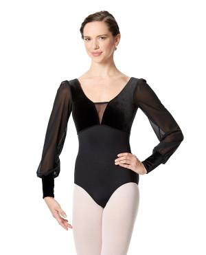 LULLI Dancewear Donne Balletto Calzamaglia/Body/Leotard FIORELLA con maniche lunghe