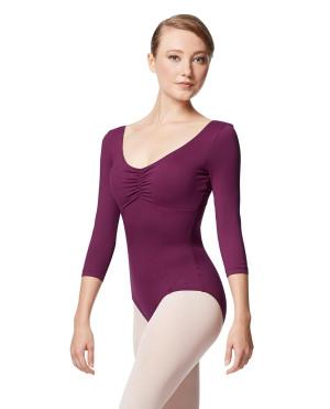 LULLI Dancewear Donne Balletto Calzamaglia/Body/Leotard CAMELLIA senza schienale con maniche 3/4
