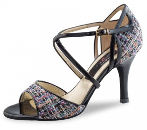 Nueva Epoca - Ladies Dance Shoes Estera - Black Patent/Multi
