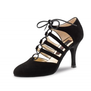 Nueva Epoca - Dames Dansschoenen April - Suede Zwart