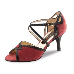 Nueva Epoca - Ladies Dance Shoes Matilda - Veloursleder Red/Black