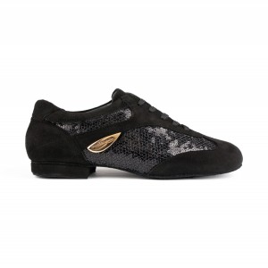 PortDance - Ladies Dance Shoes PD01 Fashion - Black Suede/Patent
