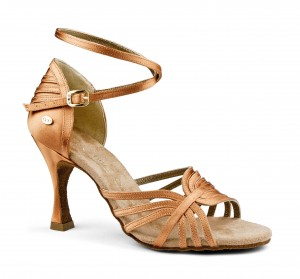 PortDance - Ladies Dance Shoes PD137 Premium - Dark Tan Satin - 6 cm Flare [EUR 39]