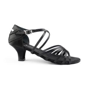 PortDance - Mulheres Sapatos de Dança PD301 Basic - Cetim Preto