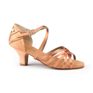 PortDance - Niñas Zapatos de Baile PD301 Basic - Satén Dark Tan