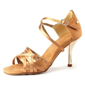 PortDance - Damen Tanzschuhe PD400 Fashion - Dark Tan Satin