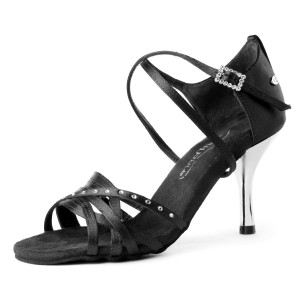 PortDance - Mujeres Zapatos de Baile PD400 Fashion - Satén Negro
