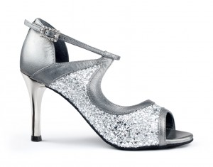PortDance - Ladies Dance Shoes PD504 Tango - Silver Leather
