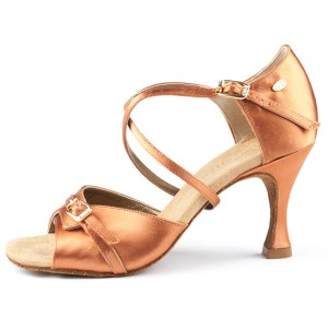 Portdance - Donne Scarpe da Ballo PD636 Premium - Raso Dark Tan