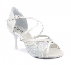 PortDance - Ladies Dance Shoes PD801 Pro - White Satin